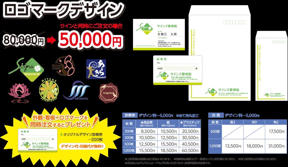 ロゴマークデザイン サインと同時にご注文の場合 50,000円